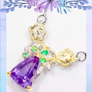 Jewelry - 💜7CT+ NATURAL AMETHYST-925 SS NECKLACE💜